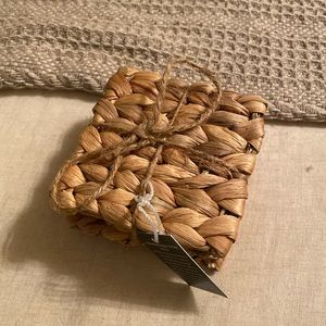NWT- wicker squared coasters set of 4